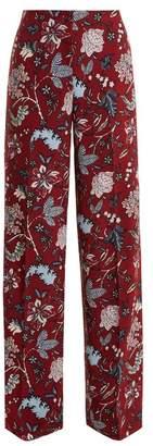 Diane von Furstenberg Canton Floral Print Wide Leg Trousers - Womens - Burgundy Print