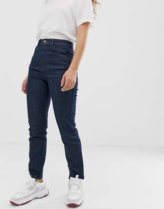 Asos Design DESIGN Farleigh high waisted slim mom jeans in washed indigo