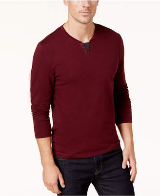Alfani Men's Long-Sleeve Split Crewneck T-Shirt, Created for Macy's