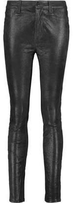 J Brand Maria Metallic Suede Skinny Pants