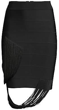 Herve Leger Women's Fringe Swag Bandage Skirt
