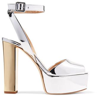 Giuseppe Zanotti - Mirrored-leather Platform Sandals - Silver $795 thestylecure.com