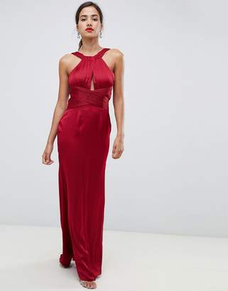 Little Mistress satin maxi dress with keyhole and gathered detail