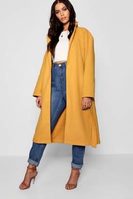 boohoo Belted Collared Wool Look Coat