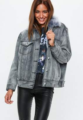 Missguided Gray Oversized Ostrich Fur Collar Lined Jacket