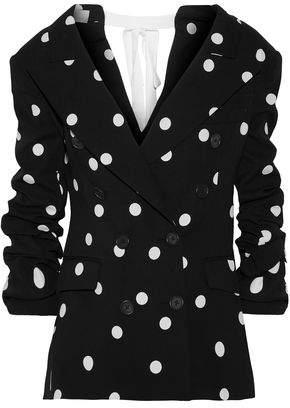 Monse Tie-Back Button-Embellished Polka-Dot Silk-Blend Jacket