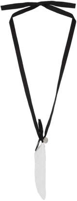 Ann Demeulemeester SSENSE Exclusive Black and White Ribbon and Feather Necklace