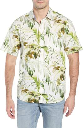Tommy Bahama Don't Leaf Me Now Regular Fit Tropical Print Sport Shirt