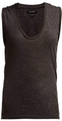 Isabel Marant Maik Linen Scoop Neck Top - Womens - Dark Grey