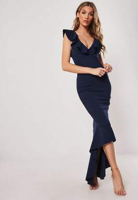 Missguided Navy Frill Strap Fishtail Bodycon Midi Dress