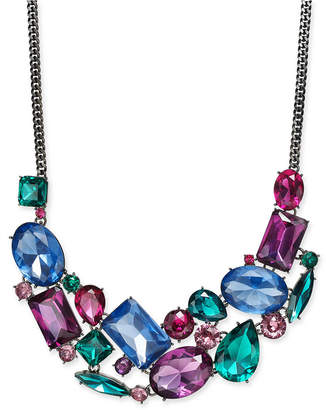 "INC International Concepts I.n.c. Hematite-Tone Multicolor Crystal Statement Necklace, 18' + 3"" extender"