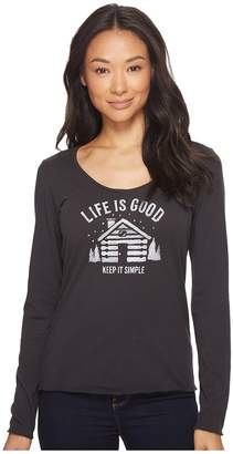 Life is Good Simplify Cabin Long Sleeve Smooth Tee Women's Long Sleeve Pullover