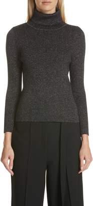 Robert Rodriguez Metallic Ribbed Turtleneck Sweater