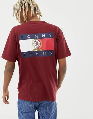 Tommy Jeans 6.0 Limited Capsule crew neck t-shirt with back print crest flag in burgundy