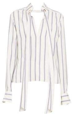 Chloé Multi Stripe Silk Long Sleeve Blouse