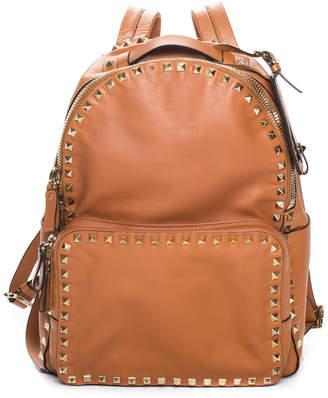 Valentino Brown Leather Rockstud Backpack