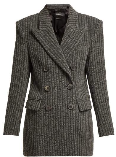 Jaxen Double Breasted Wool Blend Jacket - Womens - Dark Grey