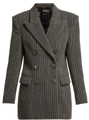Isabel Marant Jaxen Double Breasted Wool Blend Jacket - Womens - Dark Grey