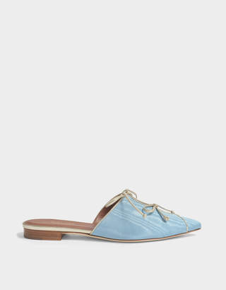 Malone Souliers Vilvin Moire Mule Shoes in Powder Blue Metallic Nappa Leather