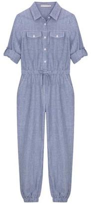 Mint Velvet Blue Striped Chambray Jumpsuit