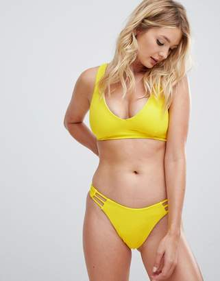 Asos DESIGN recycled fuller bust lattice back minimal crop bikini top in yellow dd-g