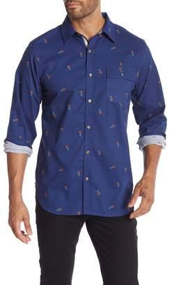 Straight Faded Pineapple Print Long Sleeve Modern Fit Shirt