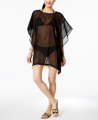 Miken Scoop-Back Tassel-Trim Poncho Cover-Up $32 thestylecure.com
