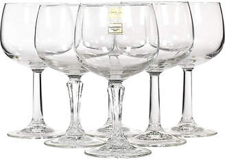 One Kings Lane Vintage French Clear Glass Wine Stems - Set of 6 - 2-b-Modern