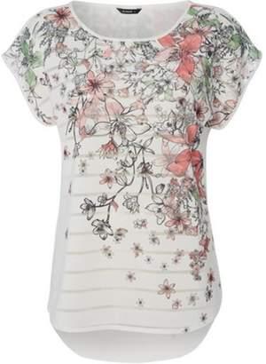 Womens *Roman Originals Stripe Floral Print T-Shirt