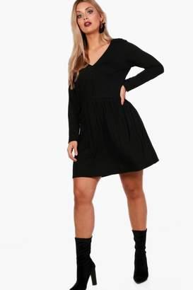 boohoo Plus V Neck Button Front Smock Dress