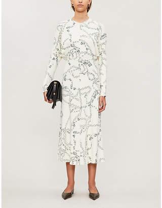 Victoria Beckham Chain-print crepe midi dress