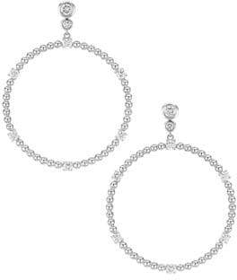 Maria Canale Flapper 18K White Gold& Diamond Front Facing Hoop Earrings