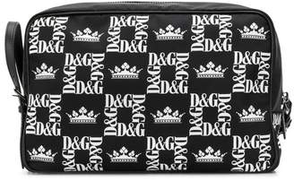 Dolce & Gabbana logo check-print wash bag