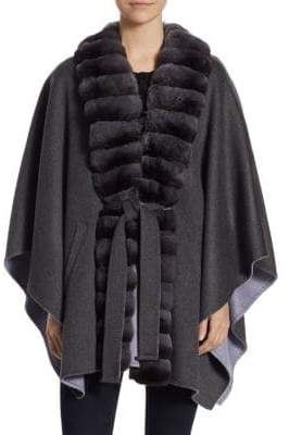 Guy Laroche Chinchilla-Trimmed& Cashmere Cape