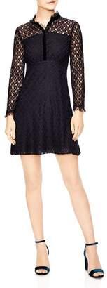 Sandro Vegetale Sheer-Detail Lace Mini Dress