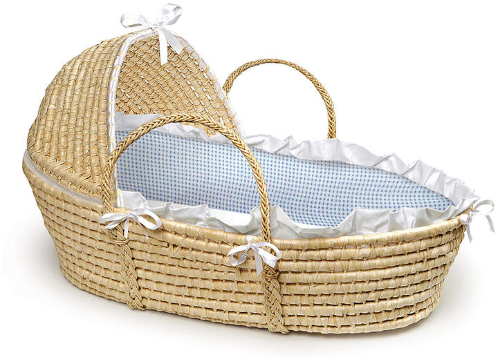 Natural & Blue Gingham Woven Moses Basket & Hood