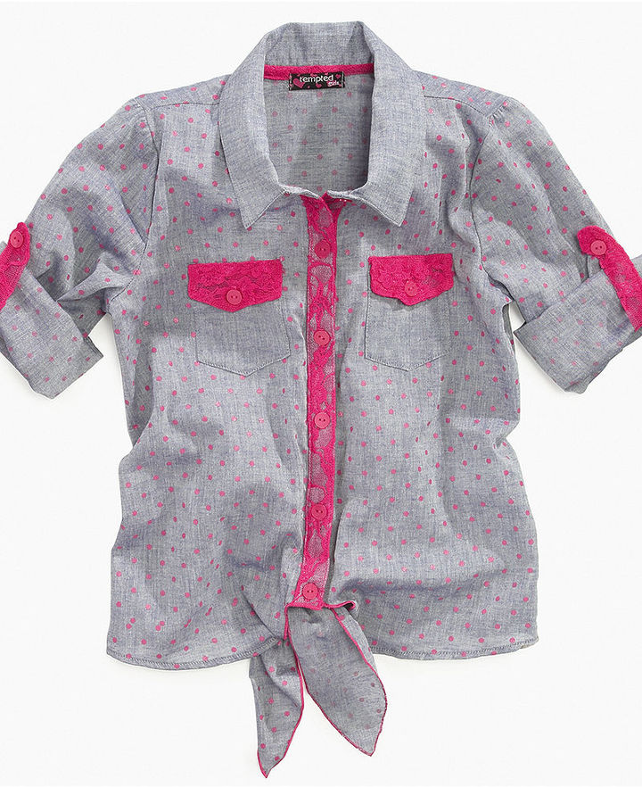 Tempted Kids Shirt, Girls Printed Tie-Front Chambray Top