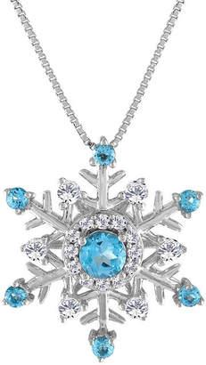 FINE JEWELRY Womens Genuine Blue Topaz & Lab-Created White Sapphire Snowflake Pendant Necklace
