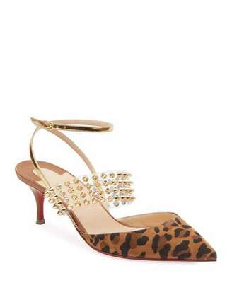 c71e511eee4a Christian Louboutin Levita Leopard Ankle-Wrap Red Sole Pumps