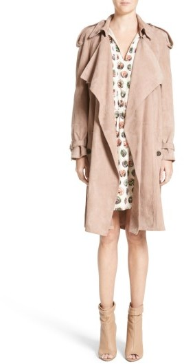 Women's Burberry Sanbridges Suede Wrap Trench