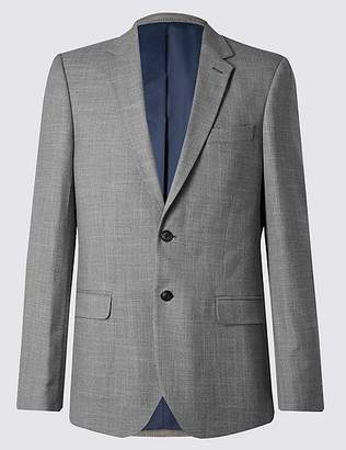 Marks and Spencer Grey Textured Regular Fit Jacket