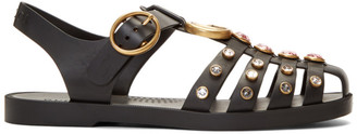 Gucci Black Rubber Crystal Sandals