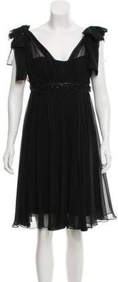 Marchesa Silk Chiffon Flared Dress