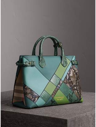 Burberry The Medium Banner in Patchwork Leather and Python