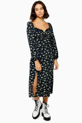 Topshop PETITE Floral Print Square Neck Midi Dress