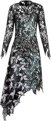 SELF-PORTRAIT Asymmetric-hem lace midi dress $615 thestylecure.com