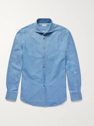 Brunello Cucinelli Slim-Fit Cutaway-Collar Washed-Denim Shirt - Men - Blue