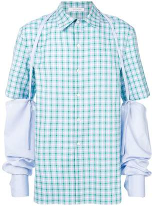 Delada check short sleeve shirt with sleeve harness