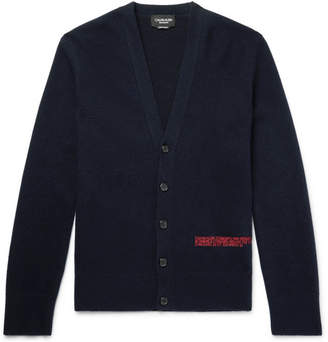 Calvin Klein Slim-Fit Embroidered Wool-Blend Cardigan