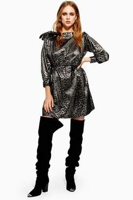 Topshop Womens Metallic Thread Jacquard Mini Dress